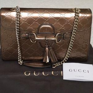 Authentic Gucci Emily Bronze Patent Medium handbag
